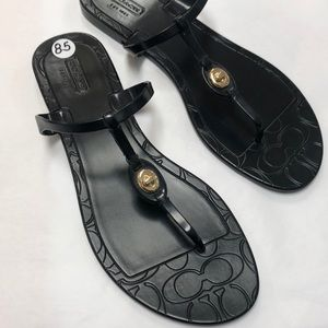New! COACH Black T Strap Sandals